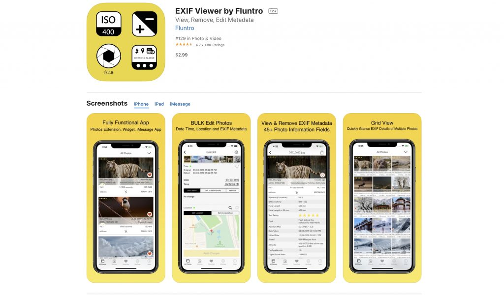 Download EXIF VIEWER by FLUNTRO Appstore