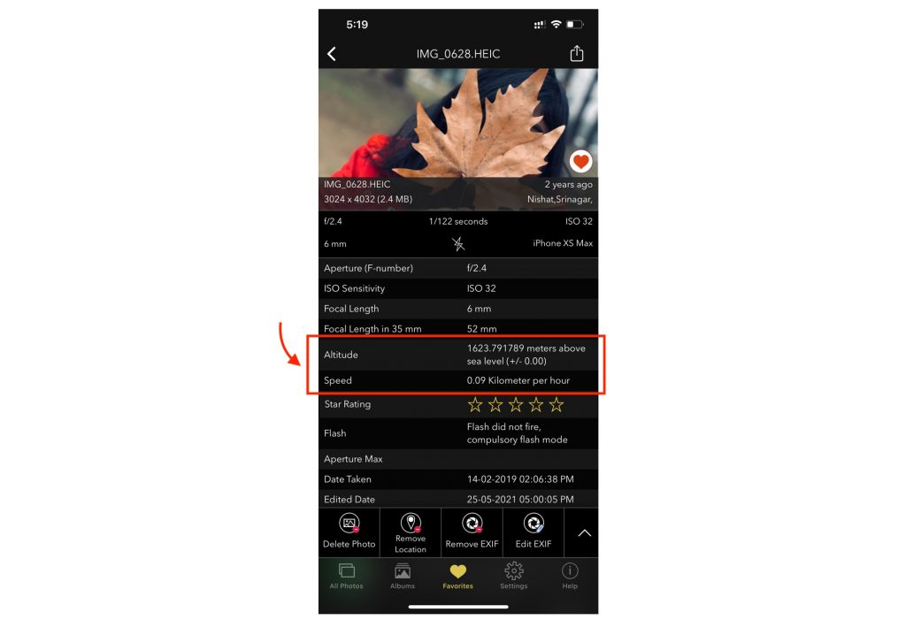 EXIF Viewer iOS App Showing Altitude and Speed