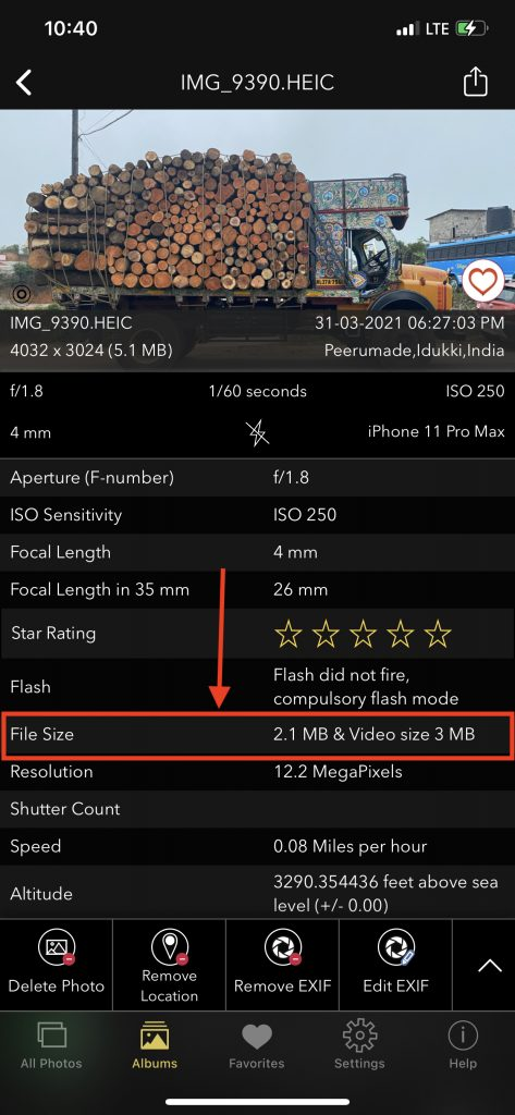 File size of Live Photo displayed on EXIFViewer by Fluntro iOS App