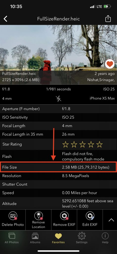 FileSize of photo displayed on EXIF Viewer by Fluntro iOS App