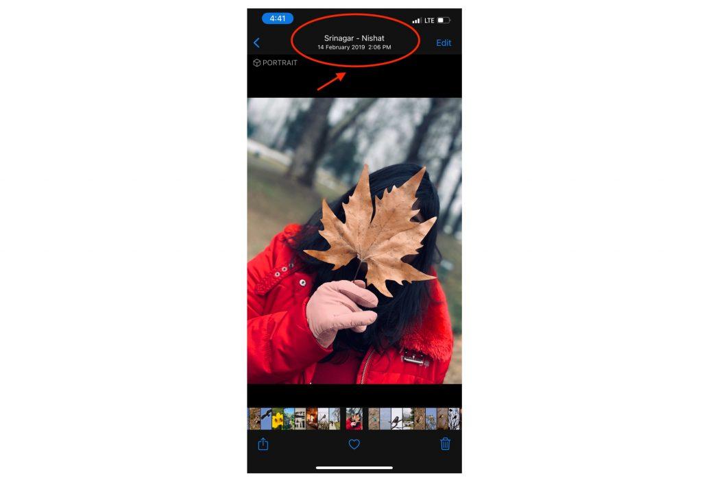 iOS Photos App showing location name
